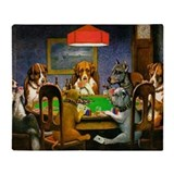 Dogs playing poker Fleece Blankets