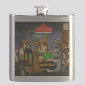 Dogs Playing Poker Flask