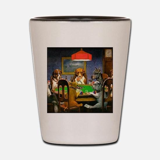 Dogs Playing Poker Shot Glass