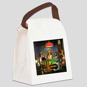 Dogs Playing Poker Canvas Lunch Bag