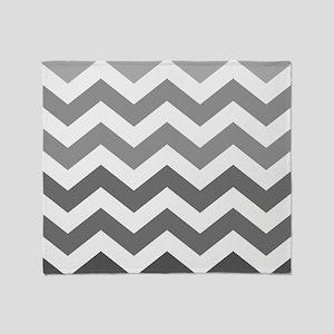 Gray Ombre Zigzag Pattern Throw Blanket