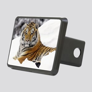Tiger In Snow Rectangular Hitch Cover