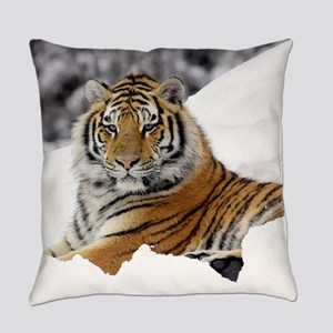 Tiger In Snow Everyday Pillow