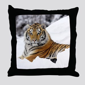 Tiger In Snow Throw Pillow