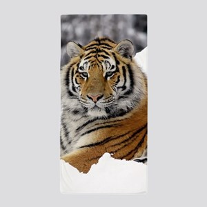 Tiger In Snow Beach Towel