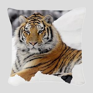 Tiger In Snow Woven Throw Pillow