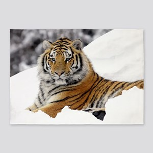 Tiger In Snow 5'x7'Area Rug