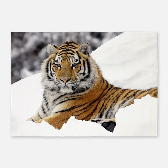 Tiger In Snow 5'x7'Area Rug