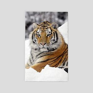 Tiger In Snow Area Rug