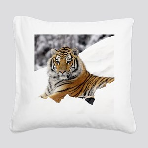 Tiger In Snow Square Canvas Pillow