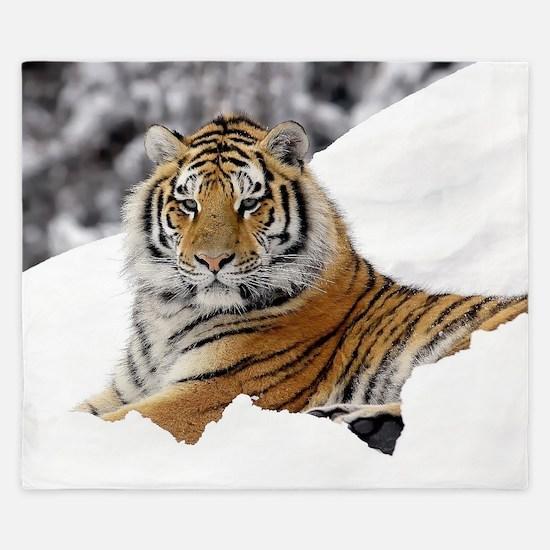 Tiger In Snow King Duvet