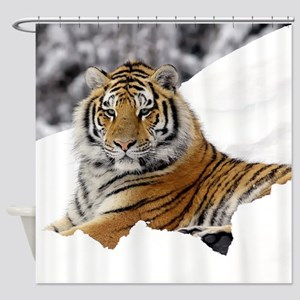 Tiger In Snow Shower Curtain