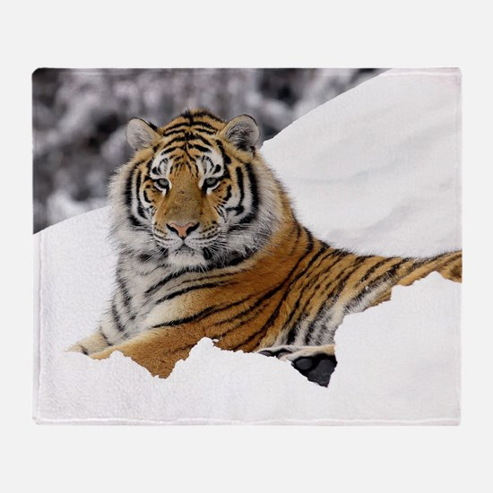 Tiger In Snow Throw Blanket