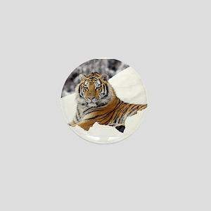 Tiger In Snow Mini Button