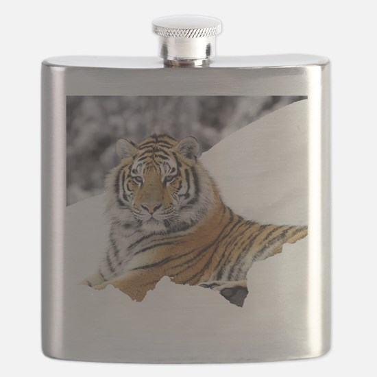 Tiger In Snow Flask