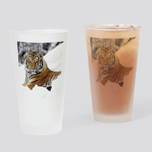 Tiger In Snow Drinking Glass