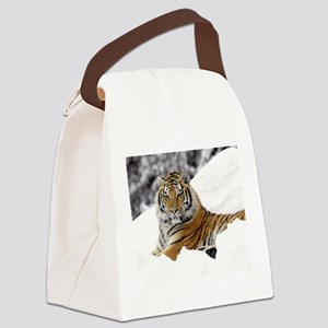 Tiger In Snow Canvas Lunch Bag