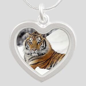 Tiger In Snow Necklaces