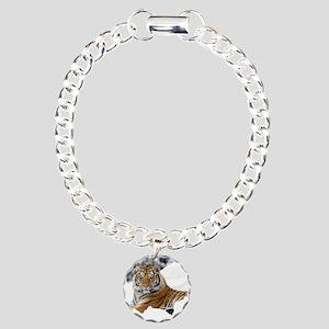 Tiger In Snow Charm Bracelet, One Charm