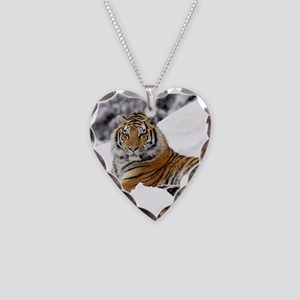 Tiger In Snow Necklace Heart Charm