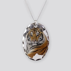 Tiger In Snow Necklace Oval Charm