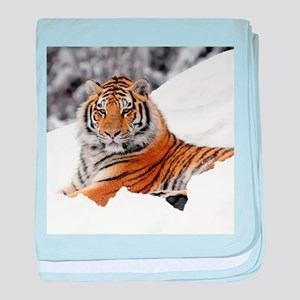 Tiger In Snow baby blanket