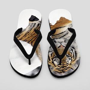Tiger In Snow Flip Flops