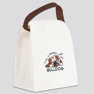 Better With Bulldog Canvas Lunch Bag