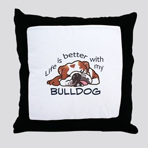 Better With Bulldog Throw Pillow