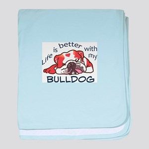 Better With Bulldog baby blanket
