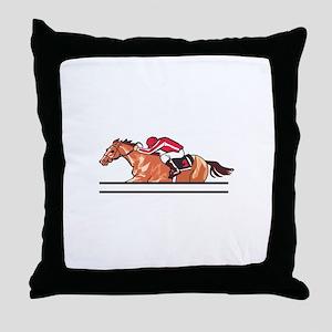 Race Horse Throw Pillow