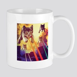 Laser Eyes Space Cats Flying T-Shirt Mugs