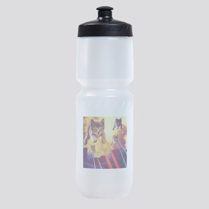 Laser Eyes Space Cats Flying T-Shirt Sports Bottle