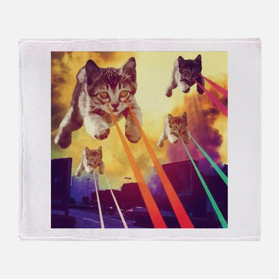 Laser Eyes Space Cats Flying T-Shirt Throw Blanket