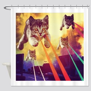 Laser Eyes Space Cats Flying T Shir Shower Curtain