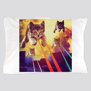 Laser Eyes Space Cats Flying T-Shirt Pillow Case