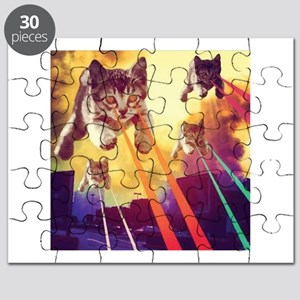 Laser Eyes Space Cats Flying T-Shirt Puzzle