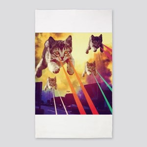 Laser Eyes Space Cats Flying T-Shirt Area Rug