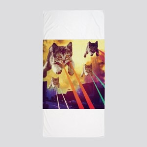 Laser Eyes Space Cats Flying T-Shirt Beach Towel