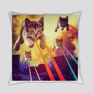 Laser Eyes Space Cats Flying T-Shi Everyday Pillow