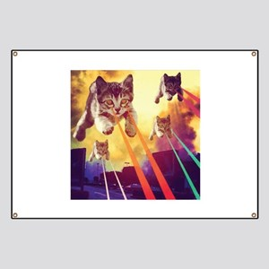 Laser Eyes Space Cats Flying T-Shirt Banner