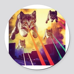 Laser Eyes Space Cats Flying T-Sh Round Car Magnet