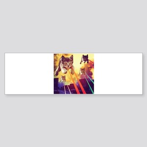 Laser Eyes Space Cats Flying T-Shir Bumper Sticker