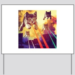 Laser Eyes Space Cats Flying T-Shirt Yard Sign
