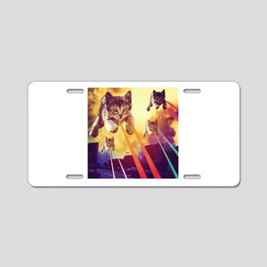 Laser Eyes Space Cats Flyin Aluminum License Plate