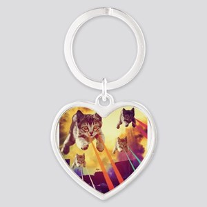 Laser Eyes Space Cats Flying T-Shirt Keychains
