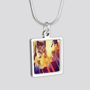 Laser Eyes Space Cats Flying T-Shirt Necklaces
