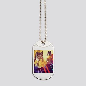 Laser Eyes Space Cats Flying T-Shirt Dog Tags