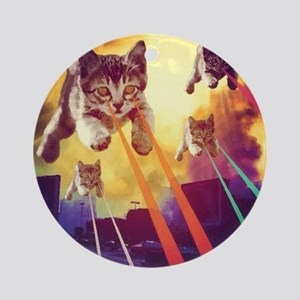 Laser Eyes Space Cats Flying T-Shir Round Ornament