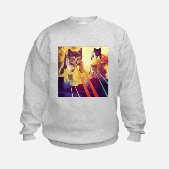 Laser Eyes Space Cats Flying T-Shi Sweatshirt
